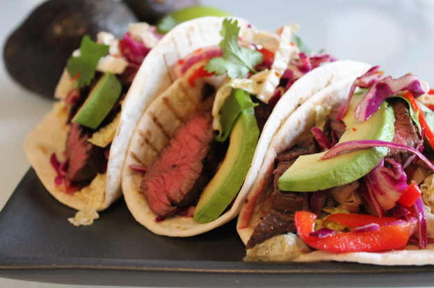Steak tacos with chili lime slaw