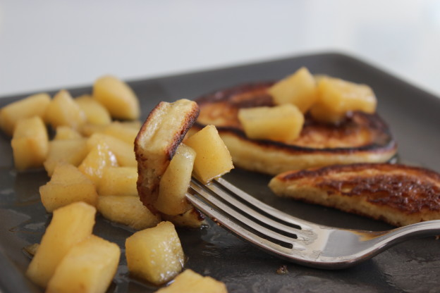 Sour cream pancakes with caramelized apple compote