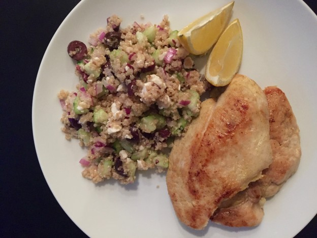 Greek salad Quinoa and Pan Seared Chicken