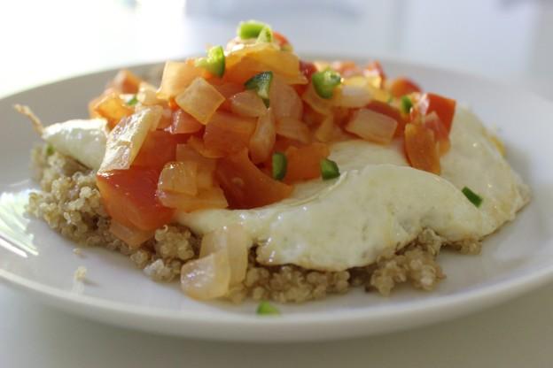 Quinoa with eggs, tomato, onion, and jalapeno